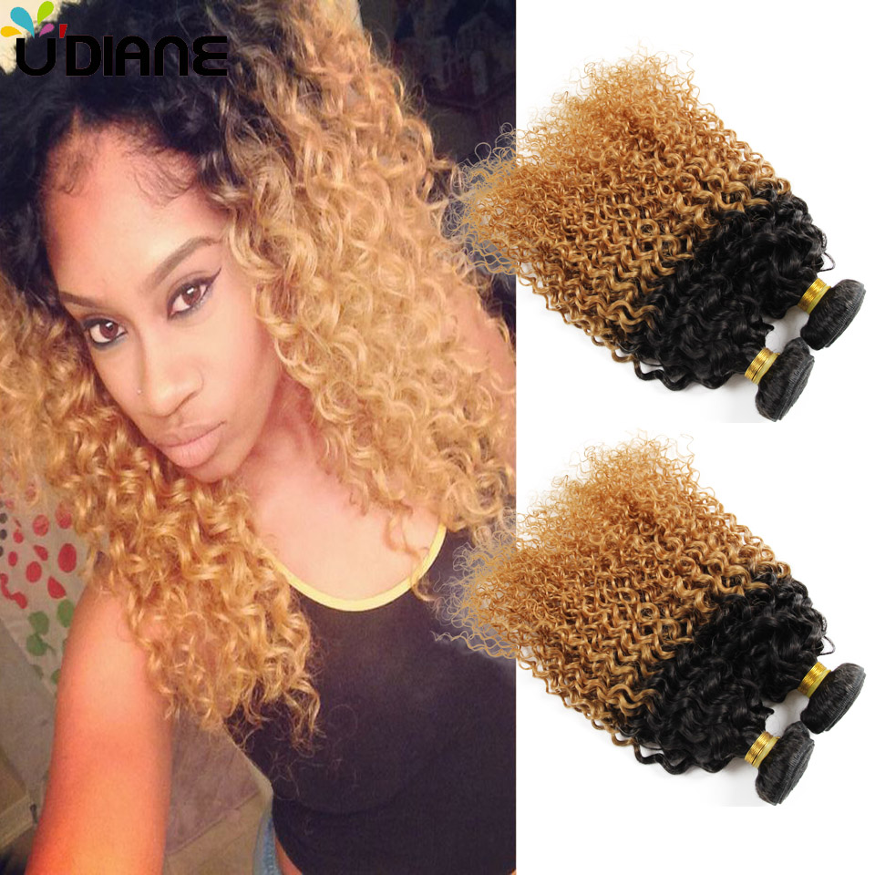 Kinky Curly Blonde Ombre Hair Weave 4pcs Honey Blonde Curly Ombre