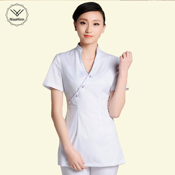 Health Club Work Clothing Female Teahouse Waitress Clothes Beauty Salon SPA Uniform 2piece Set Embroider DIY Logo Uniforms New