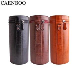 Image 2 - CAENBOO – sac à lentilles rétro dur en cuir PU, étui pour Canon, Nikon, Sony, Pentax, Fujifilm, Tamron, Sigma, pochette de protection universelle