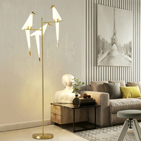 TZ Modern Bird Floor Lamp Golden Lampshade Base Light With LED Bulbs Metal Lambader For Living Room Stand Reading Lighting