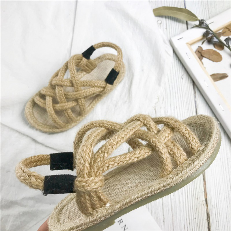 Summer Kids Sandals Cute Weaving Design Sandal Girl Open Toe Princess Shoes 4-9T