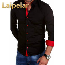 Laipelar Men Shirt Brand 2018 Male Long Sleeve Shirts Casual Hit Color Slim Fit Black Blouse Mens Solid 4XL