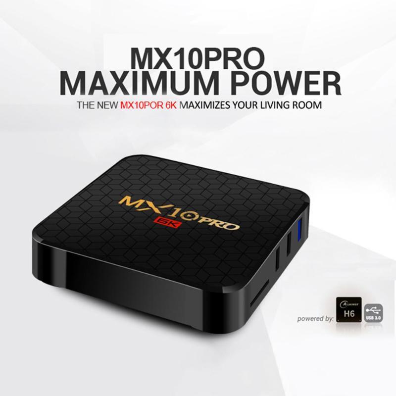 MX10 Pro Smart TV Box 4 GB + 64 GB/4G + 32G Android 9.0 Allwinner H6 Quad Core 6 K décodeur support TF carte pour la famille à la maison