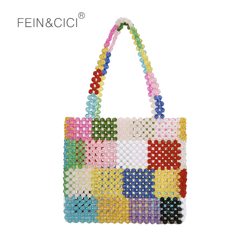 Pearls bag beaded flower acrylic totes box bag women evening party plaid handbag 2019 summer bag