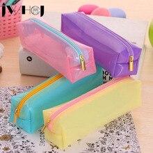 kawaii Candy color jelly soft pencil case school pencil bag for girl stationery estojo escolar school supplies