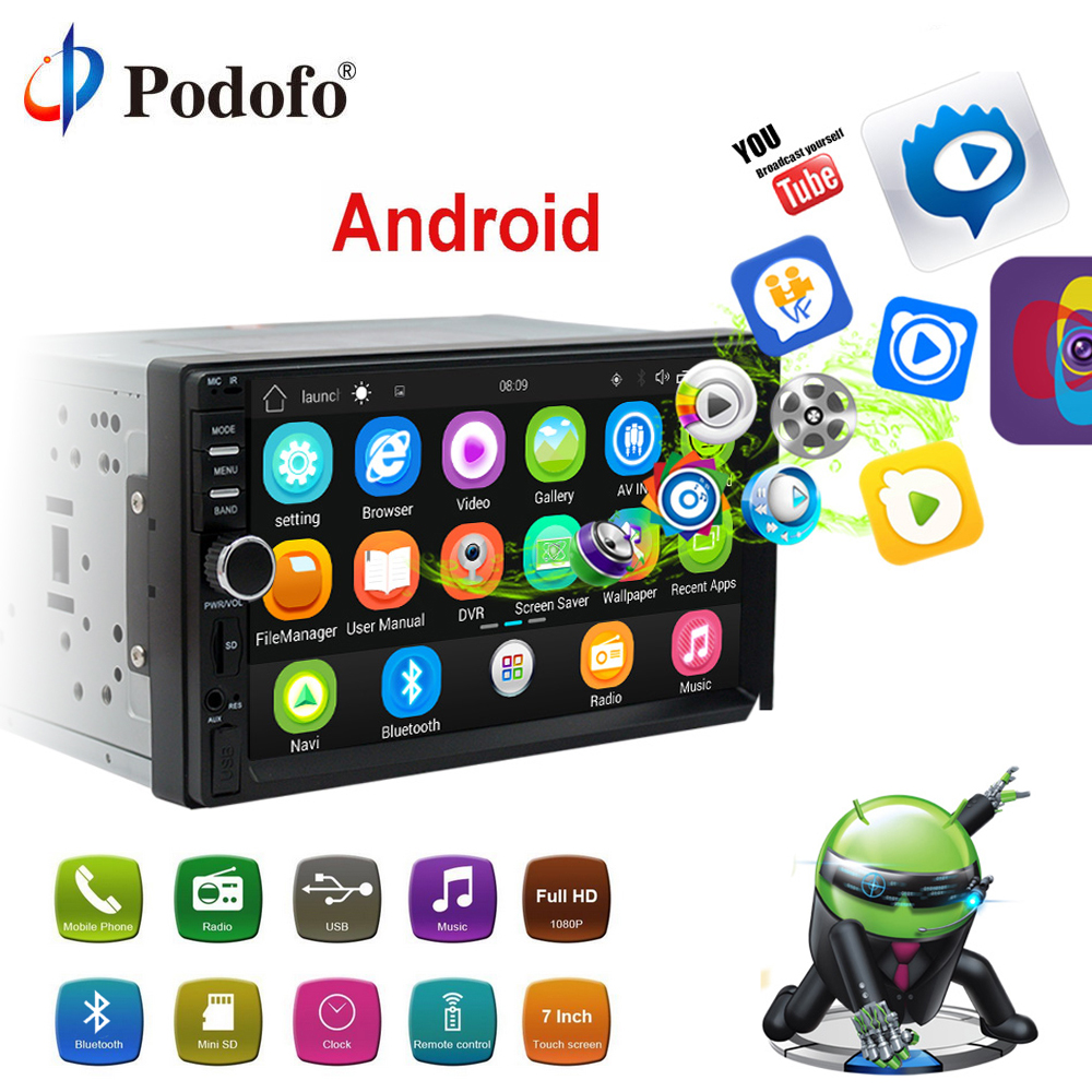 Podofo Android Voiture Radio 2Din GPS Navigation Bluetooth 7 HD Écran Tactile Autoradio AUX MP3 MP5 Lecteur FM Stéréo arrière Vue Caméra