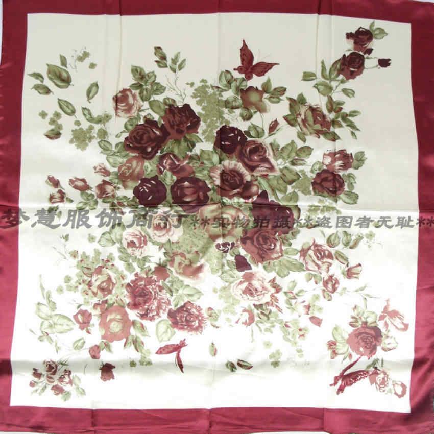 Lenco Delle Donne di Rosa Sciarpa di Seta Stampata, 90*90cm Multicolor Raso Dello Scialle Della Sciarpa Per Le Signore, di modo Fazzoletto Primavera Sciarpe di Seta