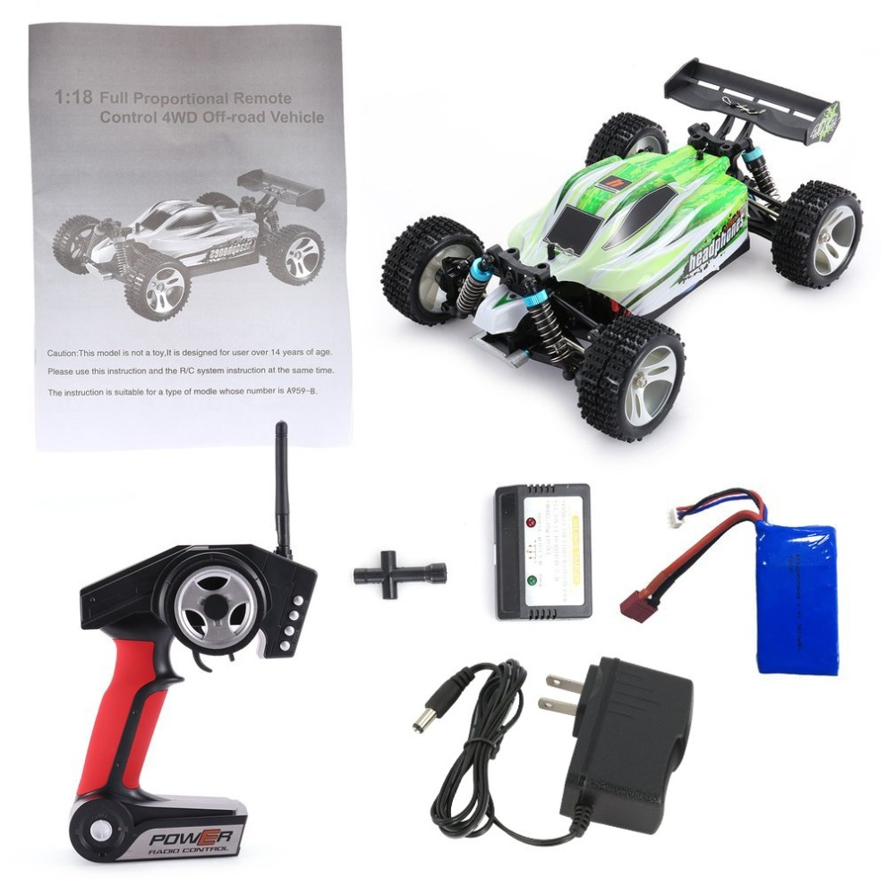 WLtoys A959 B 2.4G 1/18 Full Proportional Remote Control 4WD Vehicle 70KM/h High Speed Electric RTR Off road Buggy RC Car