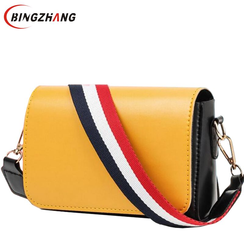 2018 European and American fashion small square bag women handbags shoulder bag with Wide straps crossbody bags for girl L8-193