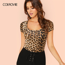 1cfe89b4b COLROVIE Scoop Neck Leopard Print Slim Fit T Shirt Women Shirts 2019 Summer  Streetwear Short Sleeve