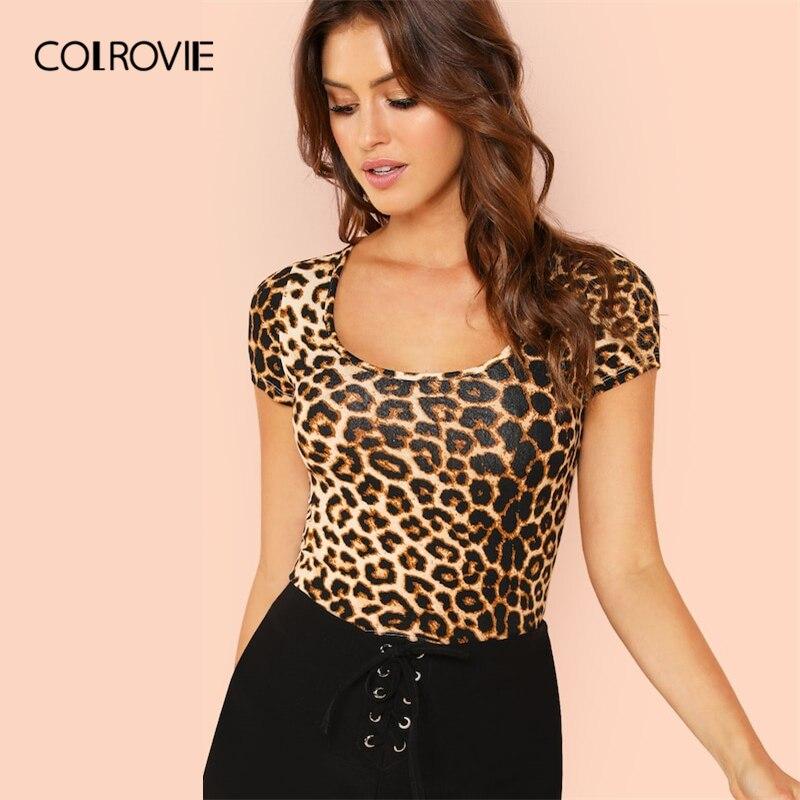 COLROVIE Scoop Neck Leopard Print Slim Fit   T     Shirt   Women   Shirts   2019 Summer Streetwear Short Sleeve Casual Tee   Shirt   Femme Top