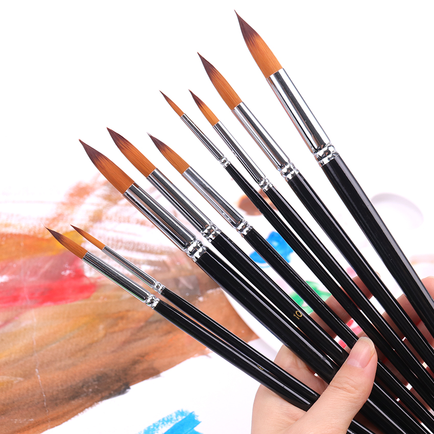 9pcs Round Pointed Tip Paint Brushes for Details Nylon Hair Wood Long Handle Artist Paint Brushes for Acrylics,Watercolor,Inks,Gouache,Oil and Tempera Painting(Black) Acrylic Paint Brushes Set