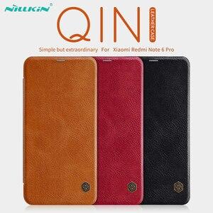 Image 1 - Кожаный чехол книжка NILLKIN для Xiaomi Redmi Note 6 Pro, чехол Бумажник серии Qin, чехол из натуральной кожи для Redmi Note 6 Pro