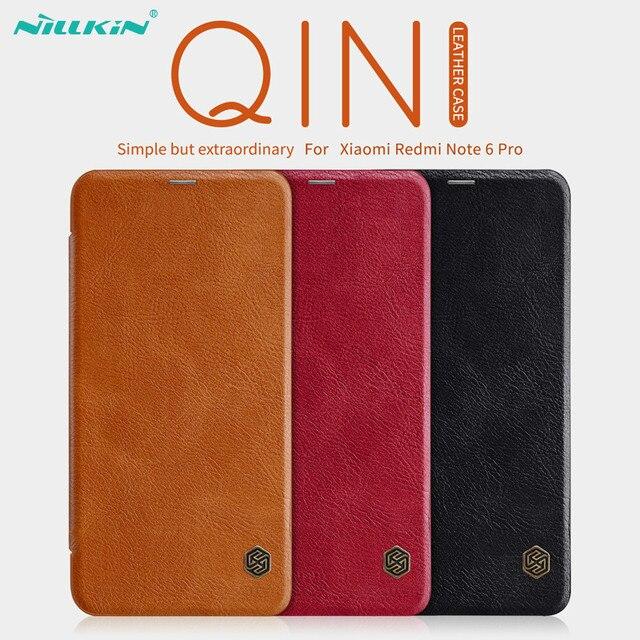 Кожаный чехол книжка NILLKIN для Xiaomi Redmi Note 6 Pro, чехол Бумажник серии Qin, чехол из натуральной кожи для Redmi Note 6 Pro
