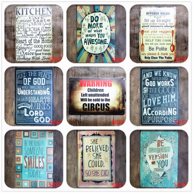 KITCHEN RULES Metal Signs Retro Plaque Bar Pub Club Wall Tavern Home ART Poster for Family and Life Rules Decor Plate N083