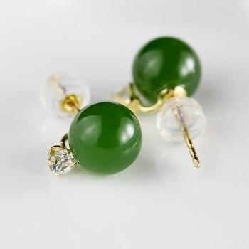 18k Gold Jewelry Natural Jade Gemstone Simple Ball Stud Earrings For Women Fine Jewelry Boucle D'Oreille Femme