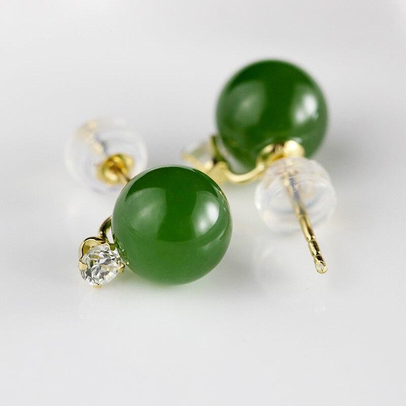 Bijoux en or 18 k pierres précieuses en Jade naturel boucles d'oreilles simples pour femmes bijoux fins Boucle D'Oreille Femme