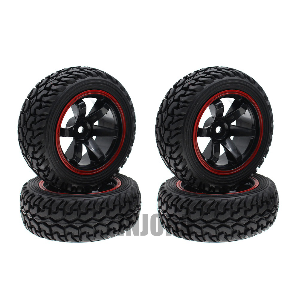 4PCS High Quality 1:10 Rally Car Wheel Rim and Tire for 1/10 Tamiya HSP HPI Kyosho 4WD RC On Road Car 4pcs aluminum alloy 52 26mm tire hub wheel rim for 1 10 rc on road run flat car hsp hpi traxxas tamiya kyosho 1 10 spare parts page 6