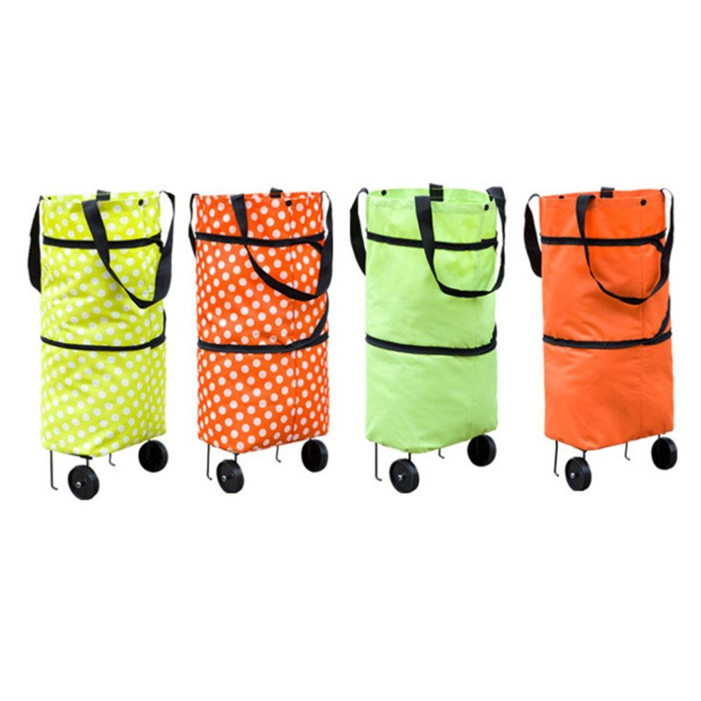 Fashionable Design Large Capacity Waterproof Oxford Cloth Foldable Shopping Trolley Wheel Bag Traval Cart Luggage Bag
