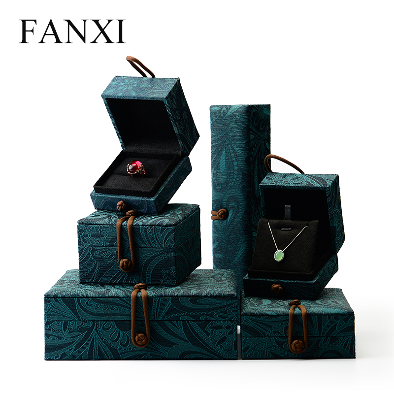 FANXI   Green Silk Jewelry Box With Pattern Suede Insert Ring Bracelet Necklace Gift Packaging Box Jewelry Storage Showcase