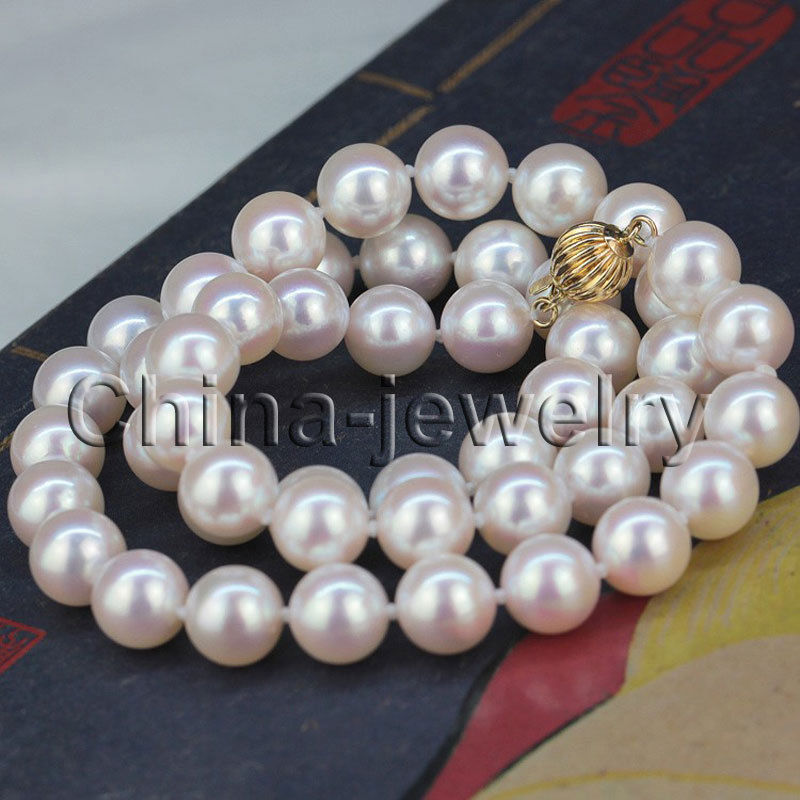 FREE shipping> >>>AAAA Perfect round 8.5mm white Japanese akoya sea water pearl necklace-gold цена и фото