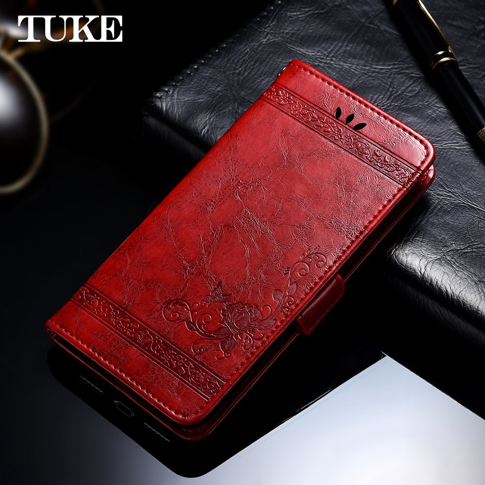 TUKE Vintage Embossed Flower Case For Huawei Ascend P20 Plus Cover Luxury Oil Wax Leather Flip Back Cover For Huawei P20 Plus