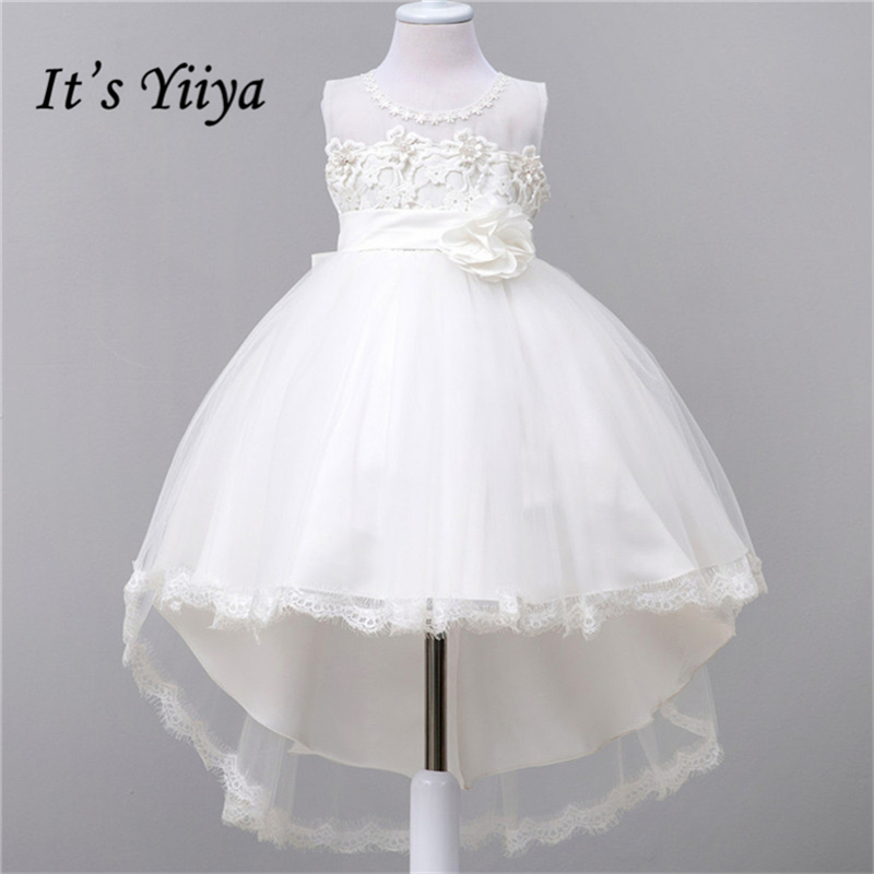 It's yiiya New White   Flower     Girl     Dresses   Patchwork Mesh Princess Ball Grown O-neck Sleeveless   Girls     Dress   891