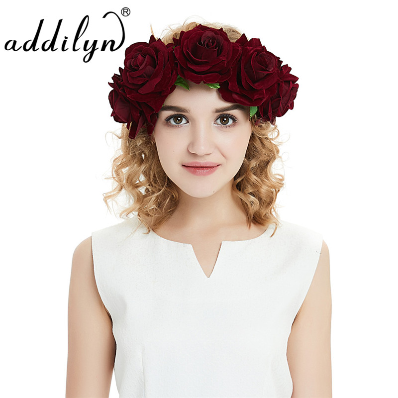 Big Lint Flower Hair Band Elastic Red Rose Hair Headband Wedding Headdress for Women ...
