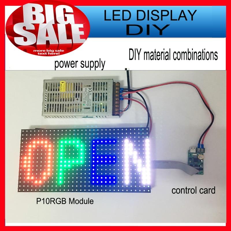 1PCS SMD P10 module + 1 pcs rgb Async card + 1pcs power/ smd outdoor scrolling full color led sign diy kits