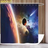 Unique Shower Curtain Outer Space Decor Comet Approaches Planet Scientific Facts Realities in Solar System World Scene Red Blue