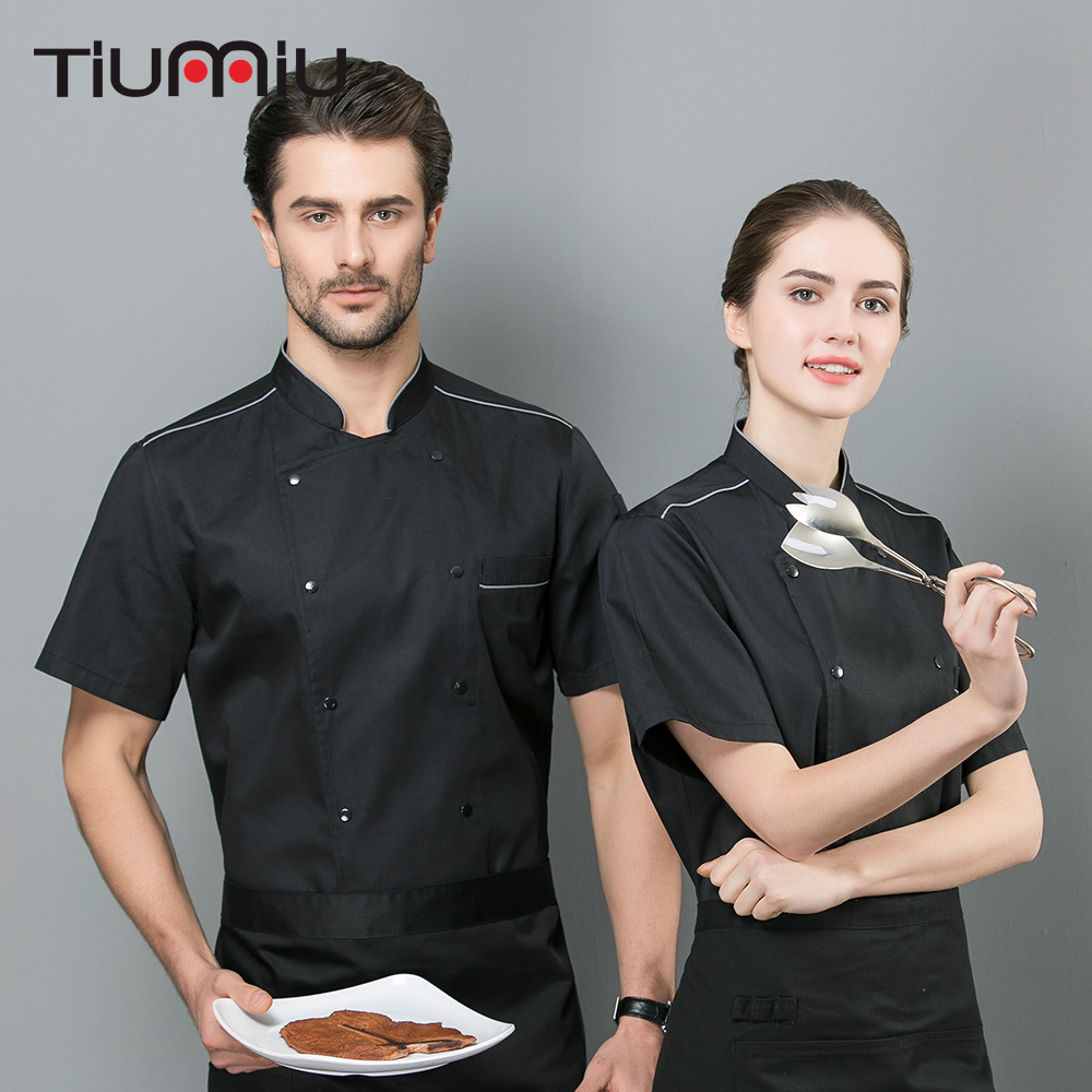 2019 High Quality Chef Uniform 2 Colors Short Sleeve Summer Jacket Kitchen Restaurant Hotel Baking Cafe Catering Unisex Overalls