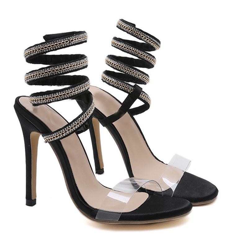 2018 D'été Yma361 on Sandales Femmes Gladiateur Slip Sandalias Chaussures Stiletto Haute Toe Noir Mujer Heeles Peep j5RqL34A