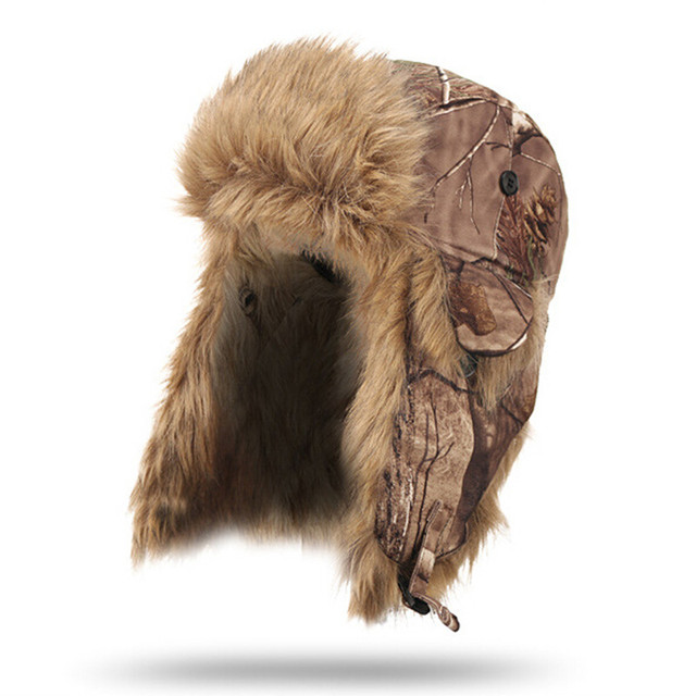 Jungle Men Winter Warm Waterproof Windproof Bionic Camouflage Cotton Hunting Protective Ear Cap Bomber Hats