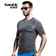 Santic Men Short Sleeve Shirt Anti-UV Custom Cycling Jerseys Breathable Bicycle Sports Clothing Quick Dry Road Bike MTB Clothes