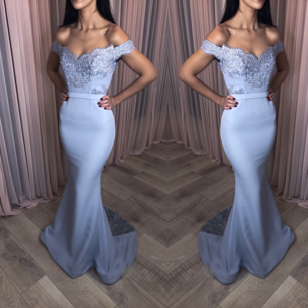Elegant Blue Lace Appliques Mermaid   Prom     Dresses   Sexy V-Neck Backless Long   Prom   Gowns Off the Shoulder Formal Party   Dresses