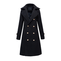 New winter thick padded mens wool blends long coat jacket double breasted slim fit parka pea coats fashion overcoats