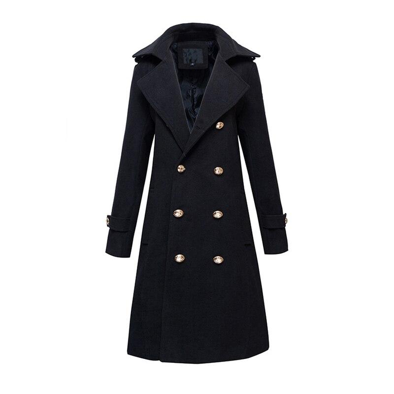 Nieuwe winter dikke gewatteerde mannen wol blends lange jas jas double breasted slim fit parka erwt jassen mode jassen-in Wol en mengsels van Mannenkleding op  Groep 1