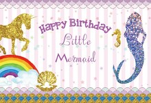 Laeacco Baby Party Cartoon Mermaid Unicorn Glitters Photography Backgrounds Customized Photographic Backdrops For Photo Studio