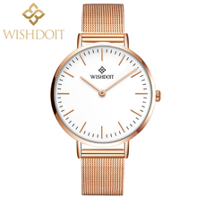 цены WISHDOIT Fashion Luxury Women Watch Relojes Mujer Stainless Steel Mesh Strap&Leather Quartz Watches Zegarek Damsk Montre Femme