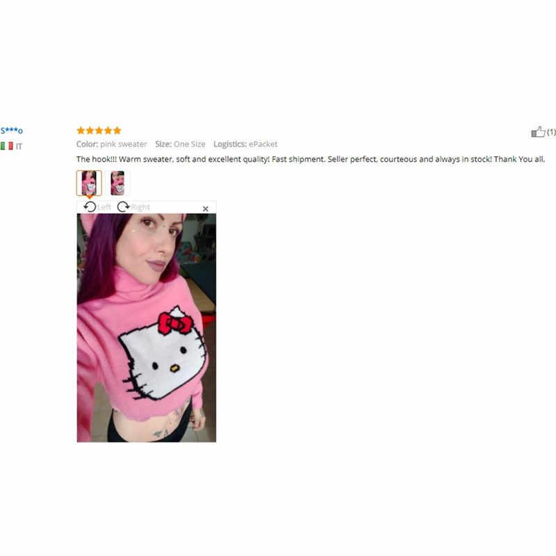 e64b12742 ... Cute Hello Kitty Cartoon Pattern Cropped Sweater Women European  American Style Streetwear Knitted Crop Tops Turtleneck