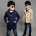 Boy Trench Coat New 2015 Long Sleeve Outerwear Kids Windbreaker Boys Children's Trench Coat Black and Khaki Outerwear 4-16Y