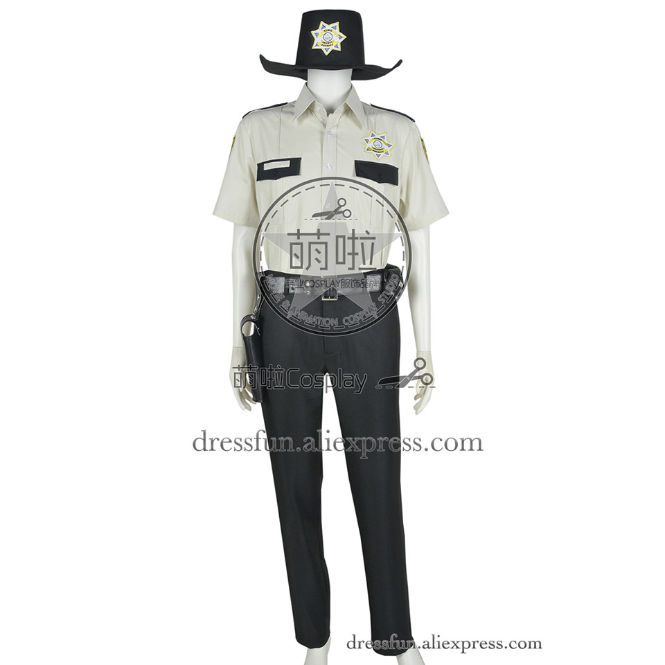 The Walking Dead Cosplay Rick Grimes Costume Outfits Full Set Clothing Halloween Shirt Party Fast Shipping