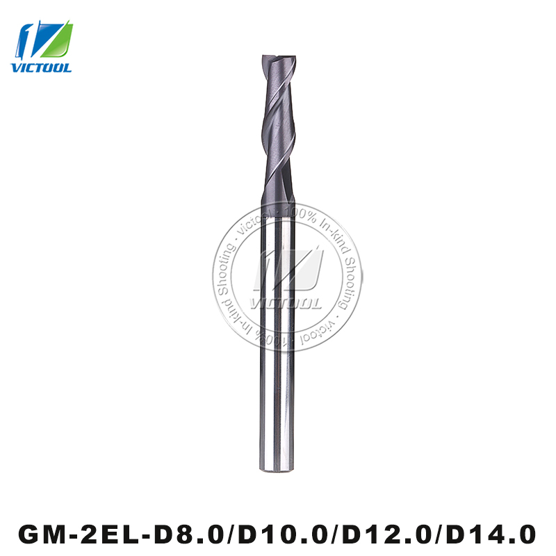 GM-2EL-D8.0/D10.0/D12.0/D14.0 Cemented Carbide Milling 2 Flute Flattened End Mill With Straight Shank And Long Cutting Edge Tool al 2el d16 0 zcc ct cemented carbide 2 flute flattened cnc end mills long cutting edge with straight shank milling tools