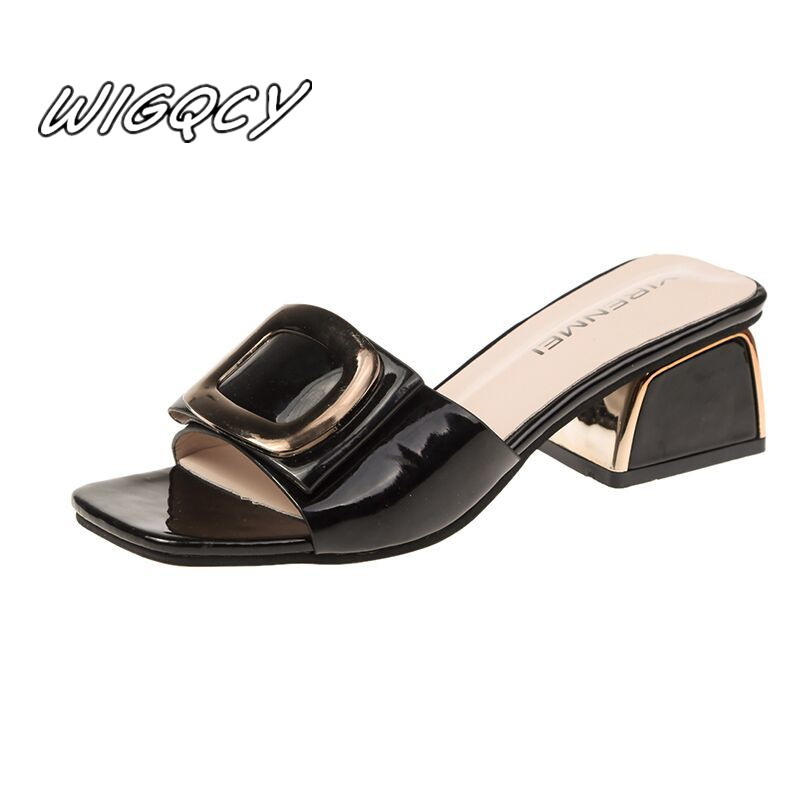 2020new women's one word style with sandals fashion thick with casual outdoor party through the wind non slip sandals sandals Pu