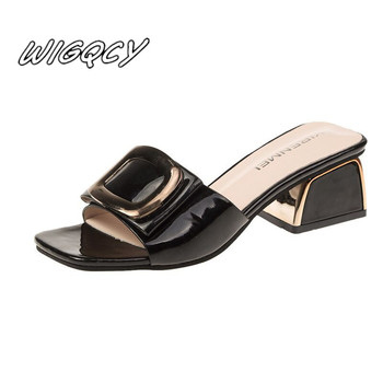 2020new women's one-word style with sandals fashion thick with casual outdoor party through the wind non-slip sandals sandals Pu