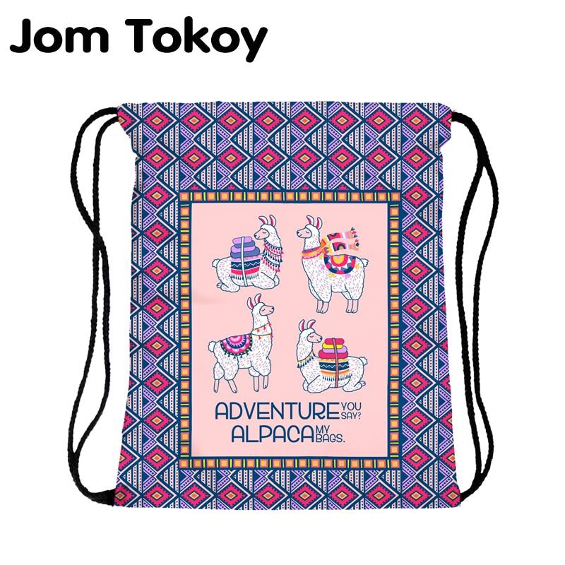JomTokoy New Fashion Women Drawstring Backpack Alpaca Printing Travel Softback Women Mochila Drawstring Bags Skd27138
