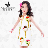 WL.MONSOON Girl dress Children's Wear Summer Wear Baby Children's Ice Cream Printing Vest Girl Princess Dress