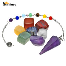 Sunligoo Set of 7 Chakras Crystal Healing Tumbled Pendulum Natural Stones And Minerals 15mm-25mm Crystals Decoration With Box