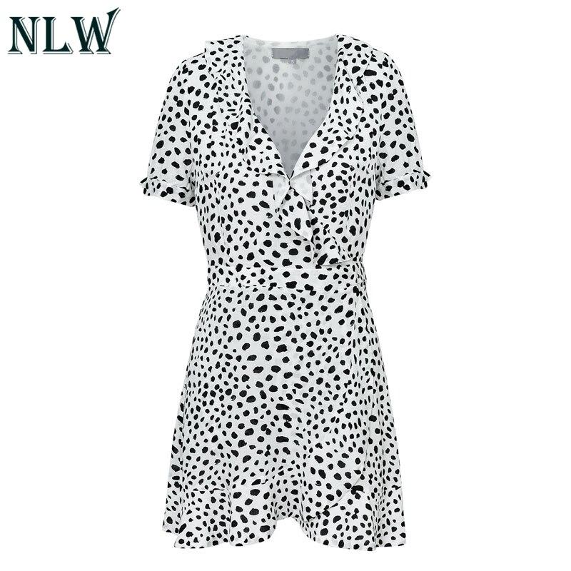 NLW 2019 Summer Vintage White Leopard Print Dresses Women