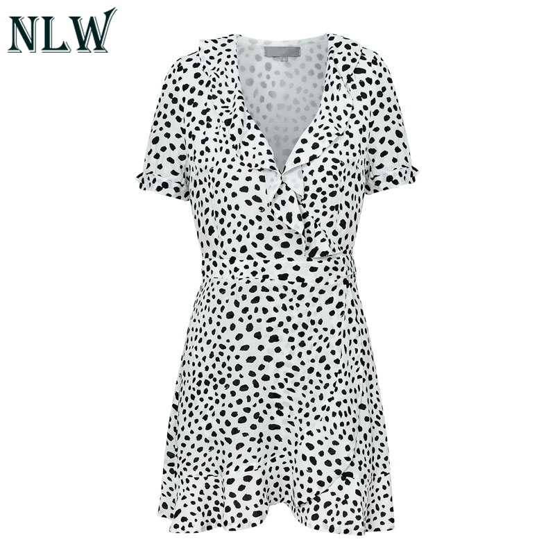 9f62afbf6833 ... NLW White Leopard Print Dresses Women Short Sleeve Wrap Ruffle Party  Mini Dress Autumn Winter 2018 ...